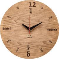 HUAMET◆CH50-A-01◆本物のオーク材ラウンド・木目の壁掛け時計◆南チロル