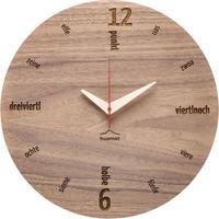 HUAMET◆CH10-B-01◆本物のクルミラウンド・木目の壁掛け時計◆南チロル