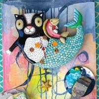 アレン デザイン スタジオ◆P1552◆猫のマーメイド◆ALLEN DESIGN  STUDIO