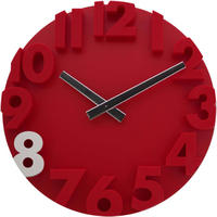 JVD◆HC16.4◆ウォールクロック、壁掛け時計◆赤◆チェコ共和国、東欧時計
