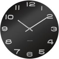 カールソン◆KARLSSON  KA4401◆ガラス 掛け時計(黒)◆Vintage Round Glass Clock