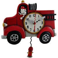アレン デザイン スタジオ◆P1306◆消防車と犬の消防士/ 振り子時計◆ALLEN DESIGN  STUDIO