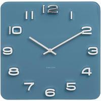 カールソン◆KARLSSON  KA5641BL◆ガラス 掛け時計(ブルー)◆Vintage Square Glass Clock