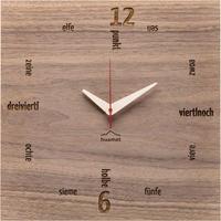 HUAMET◆CH11-B-01◆本物のクルミスクエア・木目の壁掛け時計◆南チロル