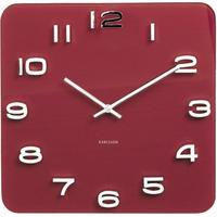 カールソン◆KARLSSON  KA5641RD◆ガラス 掛け時計(レッド)◆Vintage Square Glass Clock