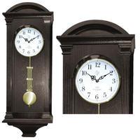 JVD◆N9317.1◆古典的な壁掛け時計、振り子時計◆ダークブラウン◆チェコ共和国、東欧時計