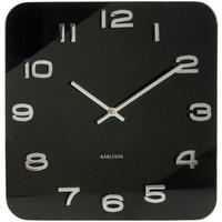 カールソン◆KARLSSON  KA4398◆ガラス 掛け時計(黒)◆Vintage Square Glass Clock