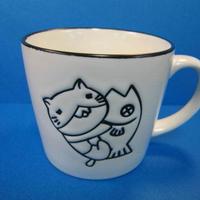 ねこぶちマグカップ マットホワイト 51856005