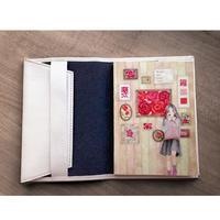 【完売】牛革ブックカバーと文庫本ノートのセット《薔薇》【数量限定】