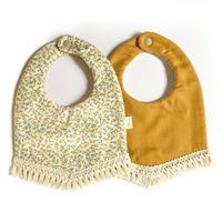 fringe baby bib [ yellow floral ]
