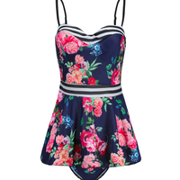 タンキニ 水着 花柄 ワンピース スカート かわいい ツーピース 体型カバー