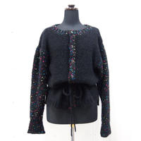 Candy pop sleeves cardigan < Black >