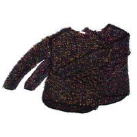 Colorful pom pon knit _ Unisex < Black base >
