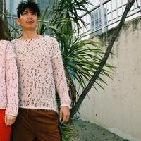 【Pre-order】Right side Pom Pons fur knit < PINK BEIGE / BLACK×RED dots>