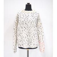 【Pre-order】Pom Poms mock knit < WHITE × BLACK dots >