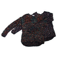Colorful pom pon knit _ Unisex < Black base >