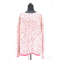 【Pre-order】Pom Pons knit slim < PINK/WHITE ×RED dots >