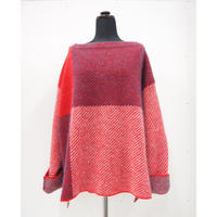 Color Combination knit _ Unisex M < Red / Black >