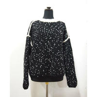 【Pre-order】Pom Poms mock knit < BLACK × WHITE dots >