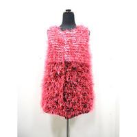 Long fur gilet  < PINK × BLACK_neon pink fur>