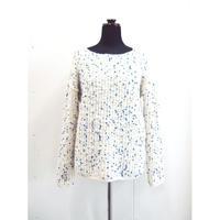 Pom Poms slim sleeves knit < WHITE×BLUEdots /  WHITE×BLUE&BLACKdots >