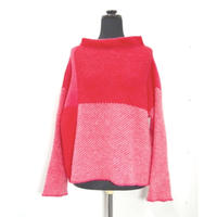 Color combination knit _ Ladies M <Pink>