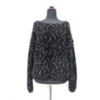 【Pre-order】Pom Poms fur knit < BLACK×WHITE dots >