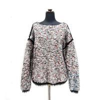 【Pre-order】Pom Poms fur knit < WHITE/BLACK×REDdots>