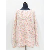 Colorful pom pon big knit _ Unisex < Reddish color >