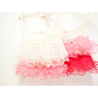 Ruffled Camisole  < baby pink/cherry pink> <red/cherry pink>