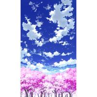【イラスト背景】【合作】青空_縦PAN用04_桜06
