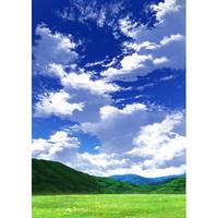 【イラスト背景】【合作】青空_縦長用10_山01_草原02