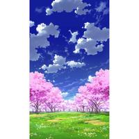 【イラスト背景】【合作】青空_縦PAN用02_桜05_草原01