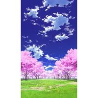 【イラスト背景】【合作】青空_縦PAN用01_桜05_草原02