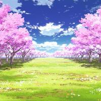 【イラスト背景】【合作】時差雲01_桜04_草原04