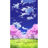 【イラスト背景】【合作】青空_縦PAN用01_桜05_草原05