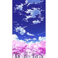 【イラスト背景】【合作】青空_縦PAN用01_桜06