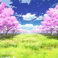 【イラスト背景】【合作】時差雲01_桜04_草原05