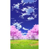 【イラスト背景】【合作】青空_縦PAN用01_桜05_草原03