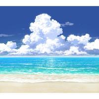 【イラスト背景】【合作】時差入道雲02_海07