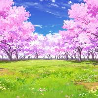 【イラスト背景】【合作】時差雲02_桜05_草原03