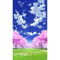 【イラスト背景】【合作】青空_縦PAN用04_桜05_草原02