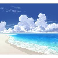 【イラスト背景】【合作】時差入道雲01_海10