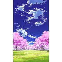 【イラスト背景】【合作】青空_縦PAN用01_桜05_草原04