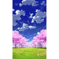 【イラスト背景】【合作】青空_縦PAN用02_桜05_草原03