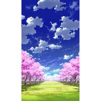 【イラスト背景】【合作】青空_縦PAN用02_桜04_草原04