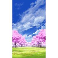【イラスト背景】【合作】青空_縦PAN用05_桜05_草原04