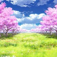 【イラスト背景】【合作】時差雲05_桜04_草原05