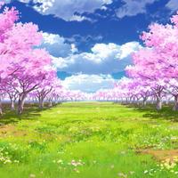 【イラスト背景】【合作】時差雲05_桜04_草原03