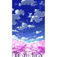 【イラスト背景】【合作】青空_縦PAN用02_桜06